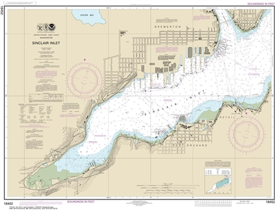 NOAA Chart 18452. Nautical Chart of Sinclair Inlet. NOAA charts portray water depths, coastlines, dangers, aids to navigation, landmarks, bottom characteristics and other features, as well as regulatory, tide, and other information. They contain all criti