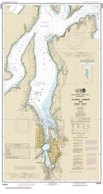 NOAA Chart 18456. Nautical Chart of Olympia Harbor and Budd Inlet. NOAA charts portray water depths, coastlines, dangers, aids to navigation, landmarks, bottom characteristics and other features, as well as regulatory, tide, and other information. They co