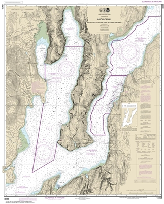 NOAA Chart 18458. Hood Canal to Quatsap Point Including Dabob Bay Nautical Chart. NOAA charts portray water depths, coastlines, dangers, aids to navigation, landmarks, bottom characteristics and other features, as well as regulatory, tide, and other infor