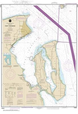 NOAA Chart 18464. Port Townsend Nautical Chart. NOAA charts portray water depths, coastlines, dangers, aids to navigation, landmarks, bottom characteristics and other features, as well as regulatory, tide, and other information. They contain all critical
