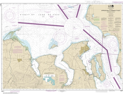 NOAA Nautical Chart 18471. Approaches to Admiralty Inlet Nautical Chart. NOAA maps portray water depths, coastlines, dangers, aids to navigation, landmarks, bottom characteristics and other features, as well as regulatory, tide, and other information. The