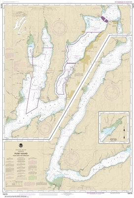 NOAA Nautical Chart 18476. Puget Sound Hood Canal And Dabob Bay. NOAA maps portray water depths, coastlines, dangers, aids to navigation, landmarks, bottom characteristics and other features, as well as regulatory, tide, and other information. They contai