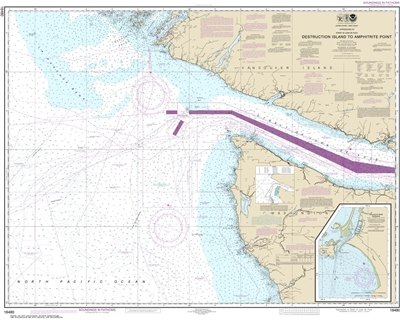 NOAA Nautical Chart 18480. Destruction Island to Amphitrite Point. NOAA maps portray water depths, coastlines, dangers, aids to navigation, landmarks, bottom characteristics and other features, as well as regulatory, tide, and other information. They cont