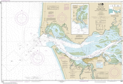 NOAA Nautical Chart 18521. Columbia River - Ilwaco Harbor. NOAA maps portray water depths, coastlines, dangers, aids to navigation, landmarks, bottom characteristics and other features, as well as regulatory, tide, and other information. They contain all