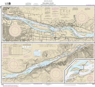 NOAA Chart 18531. Nautical Chart of Columbia River Vancouver to Bonneville, Bonneville Dam. NOAA charts portray water depths, coastlines, dangers, aids to navigation, landmarks, bottom characteristics and other features, as well as regulatory, tide, and