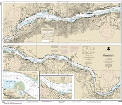 NOAA Chart 18532. Nautical Chart of Columbia River Bonneville to the Dalles & Hood River. NOAA charts portray water depths, coastlines, dangers, aids to navigation, landmarks, bottom characteristics and other features, as well as regulatory, tide, and oth