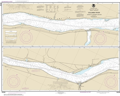 NOAA Chart 18536. Nautical Chart of Columbia River - Sundale to Heppner Junction. NOAA charts portray water depths, coastlines, dangers, aids to navigation, landmarks, bottom characteristics and other features, as well as regulatory, tide, and other infor