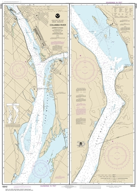 NOAA Chart 18542. Nautical Chart of Columbia River - Juniper to Pasco. NOAA charts portray water depths, coastlines, dangers, aids to navigation, landmarks, bottom characteristics and other features, as well as regulatory, tide, and other information. The