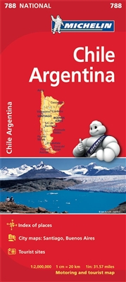 788 - Chile and Argentina travel map. Updated regularly, MICHELIN National Map Chile Argentina will give you an overall picture of your journey thanks to its clear and accurate mapping scale 1:2,000,000. Our map will help you easily plan your safe and enj