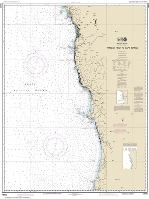 NOAA Chart 18600. Nautical Chart of Trinidad Head to Cape Blanco. NOAA charts portray water depths, coastlines, dangers, aids to navigation, landmarks, bottom characteristics and other features, as well as regulatory, tide, and other information. They con