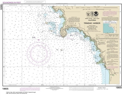 NOAA Chart 18605. Nautical Chart of Trinidad Harbor. NOAA charts portray water depths, coastlines, dangers, aids to navigation, landmarks, bottom characteristics and other features, as well as regulatory, tide, and other information. They contain all crit