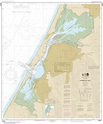 NOAA Chart 18622. Nautical Chart of Humboldt Bay. NOAA charts portray water depths, coastlines, dangers, aids to navigation, landmarks, bottom characteristics and other features, as well as regulatory, tide, and other information. They contain all critica