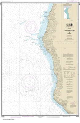 NOAA Chart 18623. Nautical Chart of Cape Mendocino and vicinity. NOAA charts portray water depths, coastlines, dangers, aids to navigation, landmarks, bottom characteristics and other features, as well as regulatory, tide, and other information. They cont