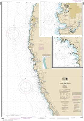 NOAA Chart 18626. Nautical Chart of Elk to Fort Bragg. Includes details of Fort Bragg and Noyo Anchorage, and Elk. NOAA charts portray water depths, coastlines, dangers, aids to navigation, landmarks, bottom characteristics and other features, as well as