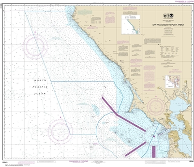 NOAA Chart 18640. Nautical Chart of San Francisco to Point Arena. NOAA charts portray water depths, coastlines, dangers, aids to navigation, landmarks, bottom characteristics and other features, as well as regulatory, tide, and other information. They con