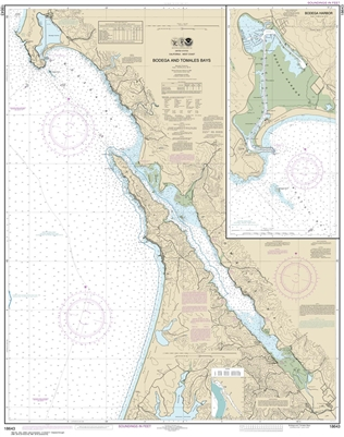 NOAA Chart 18643. Nautical Chart of Bodega and Tomales Bays. Includes Bodega Harbor. NOAA charts portray water depths, coastlines, dangers, aids to navigation, landmarks, bottom characteristics and other features, as well as regulatory, tide, and other in