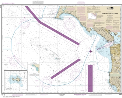 NOAA Chart 18645. Nautical Chart of Gulf of the Farallones. Includes SE Farallon. NOAA charts portray water depths, coastlines, dangers, aids to navigation, landmarks, bottom characteristics and other features, as well as regulatory, tide, and other infor