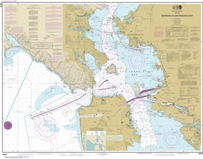 NOAA Chart 18649. Nautical Chart of Entrance to San Francisco Bay. NOAA charts portray water depths, coastlines, dangers, aids to navigation, landmarks, bottom characteristics and other features, as well as regulatory, tide, and other information. They co