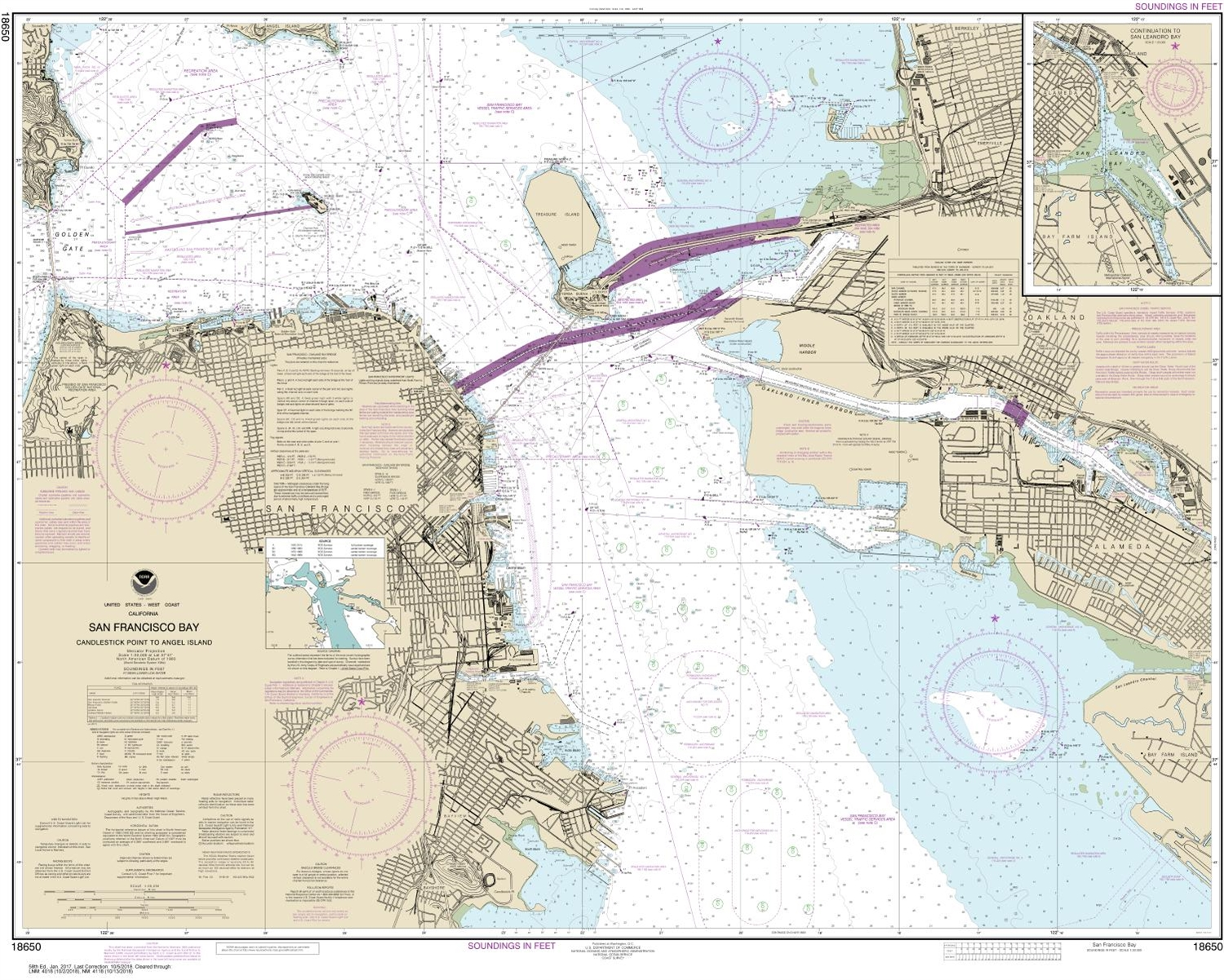 Noaa Chart 18650 Nautical Of San Francisco Bay Candlestick Point To Angel Island