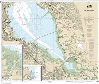 NOAA Chart 18651. Nautical Chart of San Francisco Bay - Southern part. NOAA charts portray water depths, coastlines, dangers, aids to navigation, landmarks, bottom characteristics and other features, as well as regulatory, tide, and other information. The
