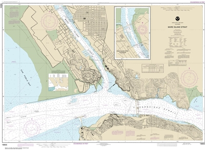 NOAA Chart 18655 Nautical Chart of Mare Island Strait. NOAA charts portray water depths, coastlines, dangers, aids to navigation, landmarks, bottom characteristics and other features, as well as regulatory, tide, and other information. They contain all cr