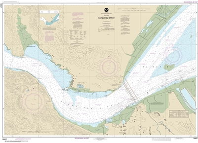 NOAA Chart 18657. Nautical Chart of Carquinez Strait. NOAA charts portray water depths, coastlines, dangers, aids to navigation, landmarks, bottom characteristics and other features, as well as regulatory, tide, and other information. They contain all cri