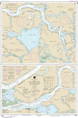 NOAA Chart 18660. Nautical Chart of San Joaquin River - Stockton Deep Water Channel. Includes Antioch to Medford Island. NOAA charts portray water depths, coastlines, dangers, aids to navigation, landmarks, bottom characteristics and other features, as we