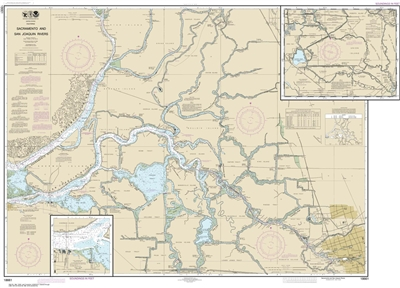 NOAA Chart 18661. Nautical Chart of Sacramento and San Joaquin Rivers Old River. Includes Middle River and San Joaquin River extension plus Sherman Island. NOAA charts portray water depths, coastlines, dangers, aids to navigation, landmarks, bottom charac