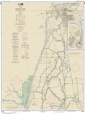 NOAA Chart 18662. Nautical Chart of Sacramento River Andrus Island to Sacramento. NOAA charts portray water depths, coastlines, dangers, aids to navigation, landmarks, bottom characteristics and other features, as well as regulatory, tide, and other infor