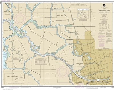 NOAA Chart 18663. Nautical Chart of San Joaquin River -Stockton Deep Water Channel - Medford Island to Stockton. NOAA charts portray water depths, coastlines, dangers, aids to navigation, landmarks, bottom characteristics and other features, as well as re