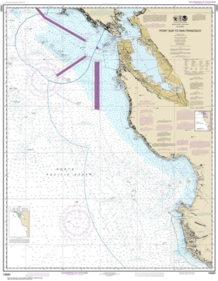 NOAA Chart 18680. Nautical Chart of Point Sur to San Francisco. NOAA charts portray water depths, coastlines, dangers, aids to navigation, landmarks, bottom characteristics and other features, as well as regulatory, tide, and other information. They conta
