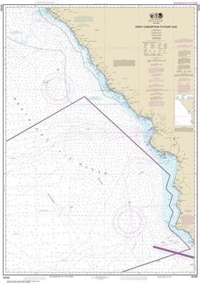 NOAA Chart 18700. Nautical Chart of Point Conception to Point Sur. NOAA charts portray water depths, coastlines, dangers, aids to navigation, landmarks, bottom characteristics and other features, as well as regulatory, tide, and other information. They co