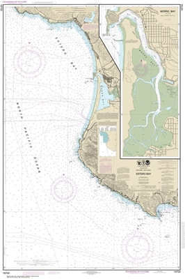 NOAA Chart 18704. Nautical Chart of San Luis Obispo Bay and Port San Luisy. NOAA charts portray water depths, coastlines, dangers, aids to navigation, landmarks, bottom characteristics and other features, as well as regulatory, tide, and other information