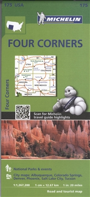 The Four Corners - Arizona, Colorado, New Mexico & Utah Travel Map. Michelin USA Southern Rockies Map 175 (scale: 1:1,267,000)part of Michelin's brand-new US regional map series with bright green covers zooms in close for comprehensive coverage of Arizona