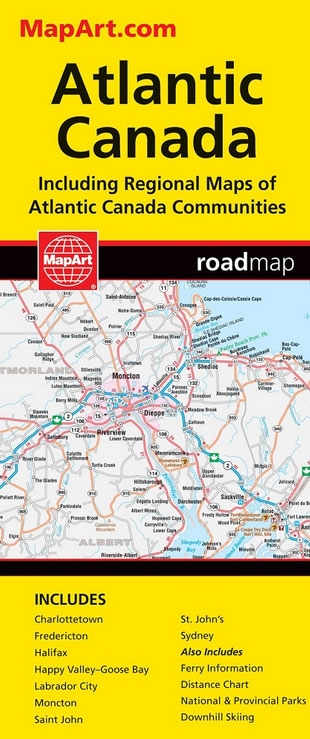 Easy Map Of Canada.Atlantic Canada Travel Road Map