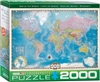 Map of the World. 2000 Piece Puzzle. A beautifully rendered map of the world including comprehensive data on population and area plus political and geological features. Strong high-quality puzzle pieces. Made from vegetable based ink. This superior qualit