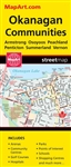 Kelowna & Okanagan BC travel & road map. Includes city maps of Armstrong, Coldstream, Enderby, Keremeos, Lake Country, Okanagan Falls, Oliver, Osoyoos, Oyama, Peachland, Penticton, Summerland and Vernon. Features include a regional map, Parks, Golf course