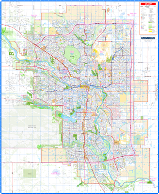 Calgary Detailed Wall Map. New detailed base map of Calgary and the surrounding region. Easy to read primary and secondary roads and streets, future roads including the new Stoney Trail in the SW, railroads, bridges and overpasses. Current and proposed LR