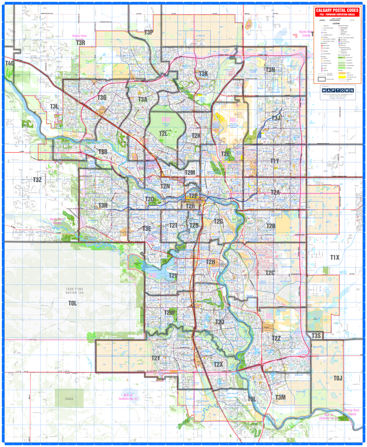 Calgary Detailed Postal Codes Wall Map New Detailed Base Map Of