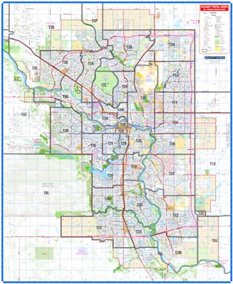 Calgary Detailed Postal Codes Wall Map. New detailed base map of Calgary and the surrounding region with the FSA or Forward Sortation Areas, meaning the first three digits of the postal code. This map is easy to read and shows primary and secondary roads