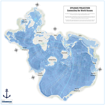 Spilhaus Projection World Wall Map. Did you know that the oceans make up 71 percent of the worlds surface? Map Town has unveiled another new and creative way to map the world. The Spilhaus map projection was developed in 1942 by Dr. Athelstan Spilhaus. Ce