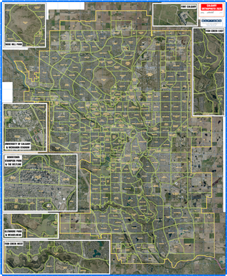 Calgary Orthophoto Large Wall Map - Laminated. If you want to see Calgary like you would from space using satellite imagery, we have something better - a large 42 inch by 50 inch laminated map of Calgary using orthophotos. Collected in 2019, this image ar