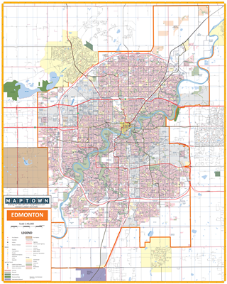 Edmonton Detailed Wall Map. New detailed base map of Edmonton and the surrounding communities of Beaumont, Sherwood, St. Albert and Stoney Plain First Nation. Easy to read primary and secondary roads and streets, including the Anthony Henday ring road, ra