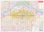 Calgary Downtown & Beltline Wall Map. Includes easy-to-read roads, named buildings and historical sites, the Plus 15 network, LRT lines and stations, zoning, schools, attractions, emergency facilities, parks and trails, libraries, city hall, Canadas Natio