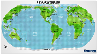 The Worlds Largest Cities - Map Blocks. Learn where the most populated cities on the planet are located. This map shows the worlds largest cities of the world with a population exceeding 3 million people. A great gift for any Lego or Mega Blocks fan. This