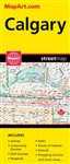 Calgary Alberta Travel Road map. A must have for anyone travelling in Calgary. Includes communities, detailed roads, an inset of downtown, points of interest, parks, schools, golf courses, hospitals, shopping centers and more. Folded maps have been the tr