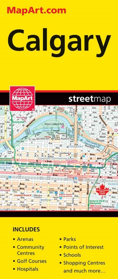 Calgary Alberta Travel Road map. A must have for anyone travelling on