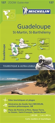 Guadeloupe, St Martin & St Barthelemy travel map. MICHELIN zoom maps highlight all the leisure activities available, such as golf clubs and tourist trains. MICHELIN Zoom Maps also include star-rated scenic routes, tourist sights & attractions, as well as