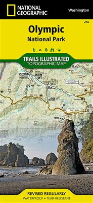 Olympic National Park Washington Hiking Map. Includes Blue Mountain, Buckhorn Wilderness, Clearwater River, Colonel Bob Wilderness, Elwha River, Hoh River, Lake Crescent, Lake Quinault, Mount Anderson, Mount Carrie, Mount Constance, Mount Deception, Mount