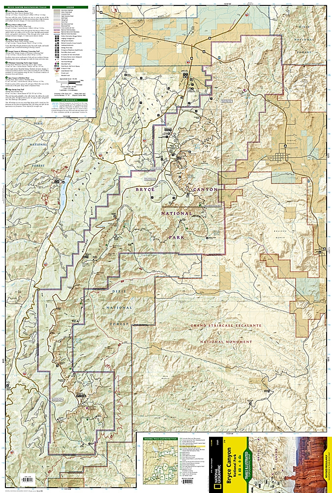Bryce Canyon National Park Utah Map 219t National Geographics